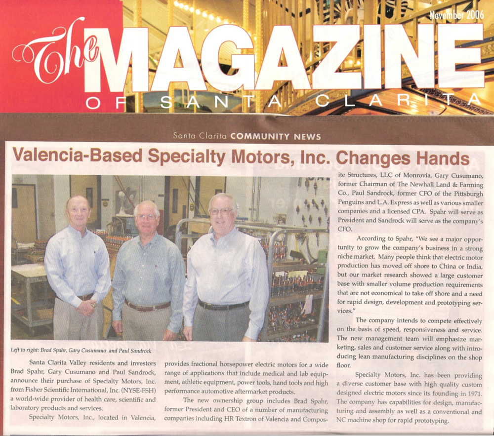 Valencia Based Specialty Motors Changes Hands